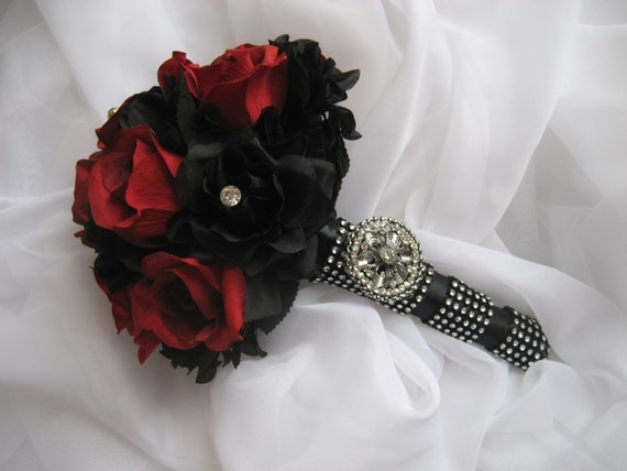 Gothic Wedding Bouquet Red And Black Boquet
