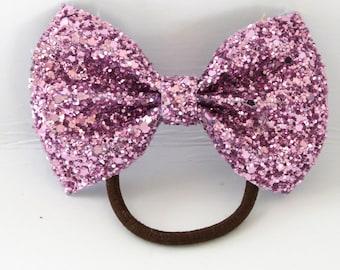 Pink Glitter ponytail holder