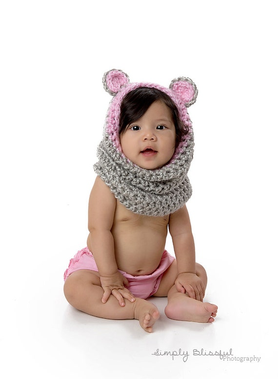 Crochet Baby Bear Cowl Pattern : Items similar to Crochet Baby Bear Cowl, Baby Bear Hood ...