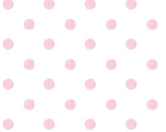 One Yard Polka Dot in Pink and White 100% Cotton Twill Fabric
