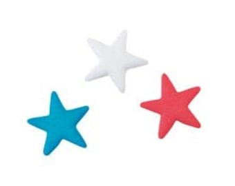 Red, White and Blue Edible Sugar Star Dec Ons-Come packaged in a set of 12.