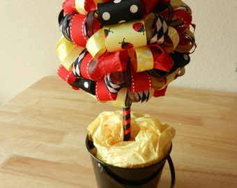 "Lady Bug Ribbon Topiary ""Lilley Bug"""