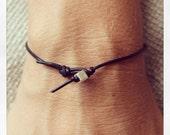 Bracelet Simple 01 Silver Leather Handmade - Black (B401SV-LBK)