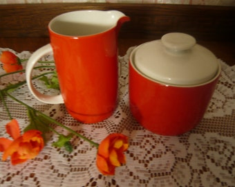 Royal Doulton Fine China Cream and Covered  Sugar in Wonderful Orange Red Retro Color
