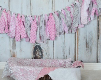 Pink and Gray Rag Banner, Pink and Gray Fabric Bunting Photo Prop