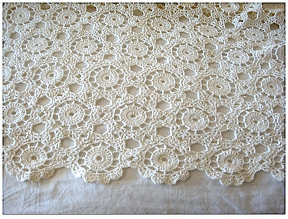 Vintage Hand Crocheted Bedspread Cotton  Beige Reduced From