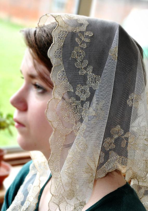 100 Hand Embroidered Catholic Lace Mantilla Chapel Veil