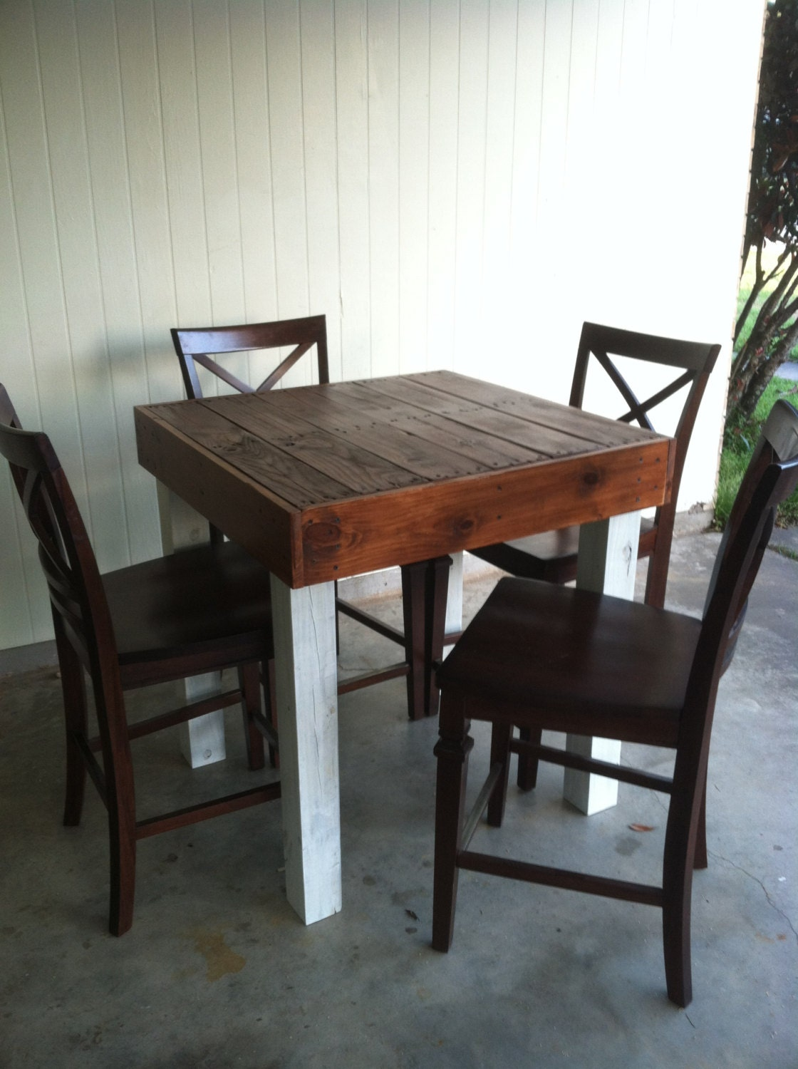 Dining Wood Table: Reclaimed Wood Dining Table Upcycled Pub Size Pallet Wood