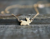 Bunny Necklace ... Gold Filled Chain / Spring Woodland Small Rabbit Pendant / Sweet & Cute