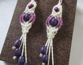 White&Lila Macrame Earrings with wood beads Handmade