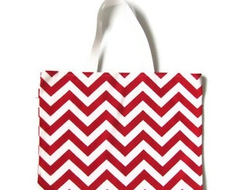 "Red  Chevron Tote Bag, red  Shoulder Bag, Red  Beach Bag, Red Chevron Tote, Red  Chevron Bag- 17"" x 13"""