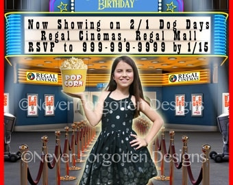 5x7 Custom New Movie Theater Birthday Party Invitation for Kids Tweens Teenagers