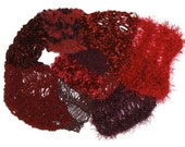Simply Red Knitted Scarf, SPECIAL FREE SHIPPING to Australia, mixed yarns, lacy, warm - Jillsgallery