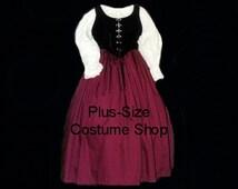 Burgundy RENAISSANCE Gown Dress PLUS Size Halloween Costume Adult Womens Size 1X 2X 3X 4X 5X - 3 pcs New