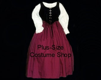 Burgundy RENAISSANCE Gown Dress PLUS Size Halloween Costume Adult Womens Size 1X 2X 3X 4X 5X - 3 pcs New