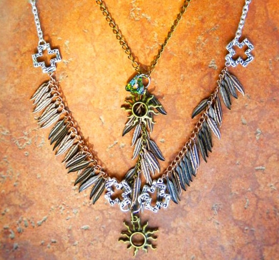 Metal Feathers Double Necklace