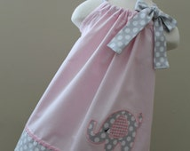 Beautiful Elephant in pink pillowcase dress.