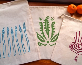 Hand Printed Produce Bags- Organic Cotton Muslin- Set of 3