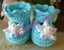 SALE - Baby Booties, Crochet Baby Booties Pattern. PATTERN PT034