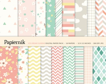 SALE 50% Printable Digital Paper Pack for Scrapbooking and Crafts - Mint Coral Pink Yellow Gray Pastel Floral Chevron Stripes Grid
