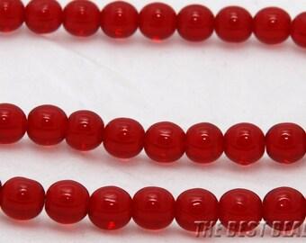 30pcs Garnet Red Round Czech Glass Pressed Beads 6mm