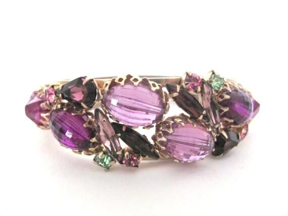 Vintage 1960's Cuff Bracelet - Lavender, Purple Rhinestone Clamper Bracelet