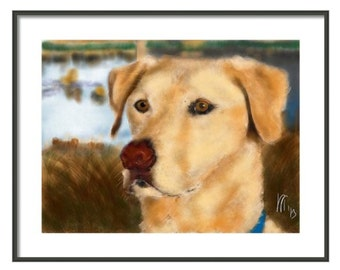 Custom Dog Portrait, custom portrait, pet portrait, dog lover, dog art, pet memorial, dog memorial, artwork , wall art, dog, yellow Labrador