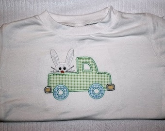 Monogrammed Boy Easter Shirt - Bunny Truck READY TO SHIP
