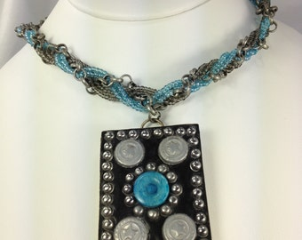Hippie Blue Aqua Beaded and Gunmetal Gray Chain Pendant Choker Necklace