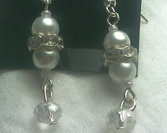 Natural Freshwater Pearl and Crystal Earrings