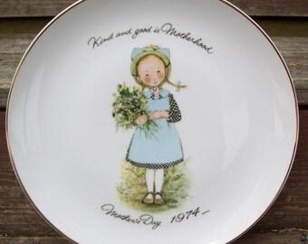 Vintage Mother's Day 1974 Holly Hobbie Porcelain Plate Japan