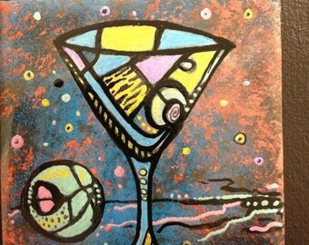 Funky abstract martini / drink art on ceramic tiles
