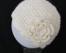 SALE Crochet Chemo Cap Hat Beanie, Women Size, Off White, Detachable Flower Pin