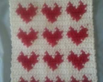 Many Hearts Pet Carrier Mat, Kennel Mat, Rug, Blanket Crochet Free Shipping