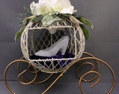 Cinderella's Wire Form Coach with Glittered Slipper on Purple Velvet Pillow for Birthdays, Prom, Bridal Showers
