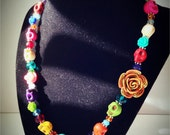 Sheena Day of the Dead Leopard Rose and Skull Asymmetrical Necklace