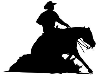 Horse decal-Western Horse Wall sticker-Reining Horse Decal 2- 28x22 inches- wall decor, 259-HS