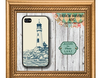 Lighthouse iPhone Case, Nautical iPhone Case, Plastic iPhone Case, iPhone 4, 4s, iPhone 5, 5s, iPhone 5c, iPhone 6, Phone Cover, Phone Case