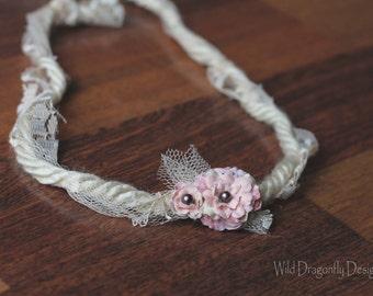 Tie-back floral newborn headband