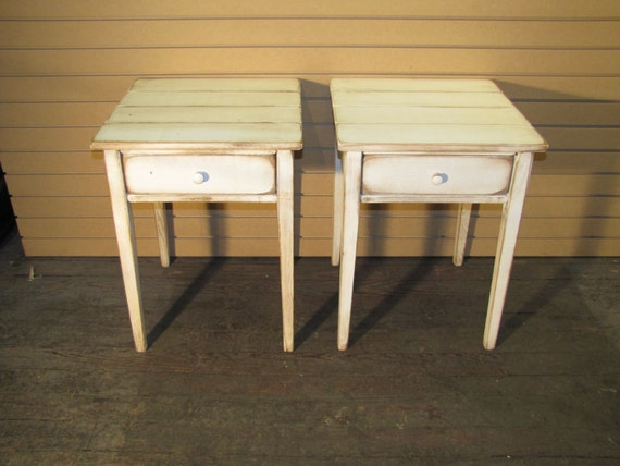 Two Distressed Shaker End Tables With Drawers Rustic