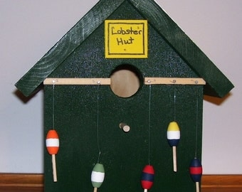 Lobster Hut Birdhouse With Painted Roof Trim Shack Maine Ocean