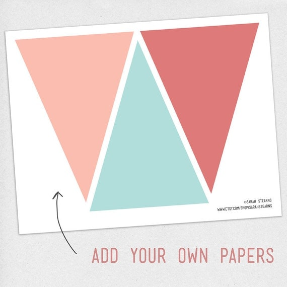 print your own pennant banner diy digital download party template from daydrifterdigital on. Black Bedroom Furniture Sets. Home Design Ideas