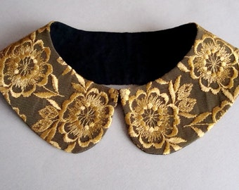 Yellow Golden Floral Lace on Black Background Detachable Collar Necklace / Peter Pan Collar / Col Claudine / Handmade Collar