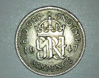 1947 Wedding Sixpence Coin - Lucky Wedding Sixpence for the Bride