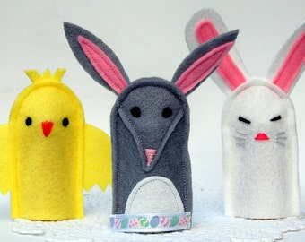 Australian Easter Finger Puppets - Set of 3 (Chick, Bunny and Bilby)