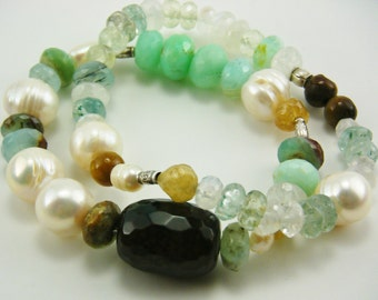 sale etsy Gemstone Stretch Original design Chrysoprase moonstone pearls chalcedony Apetite thai sterling silver beads