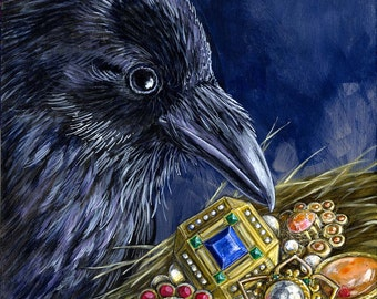 The Collector raven bird portrait fine art print