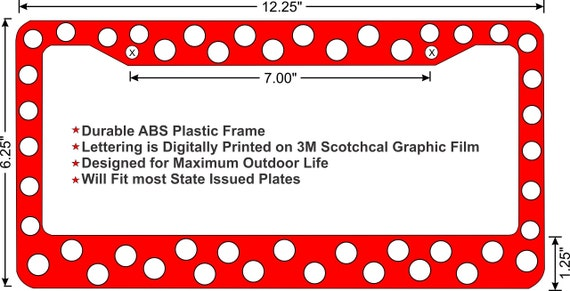 polka dot custom license plate frame 3 color combos to choose from