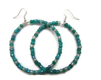 Colorful Beaded Hoop Earrings - Glass Beads - Handmade - Homemade Jewelry