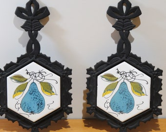 Blue pear cast iron trivets